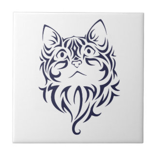 Front Facing Cat Kitten Face Stencil Small Square Tile