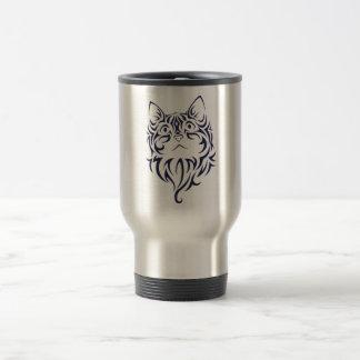 Front Facing Cat Kitten Face Stencil Travel Mug