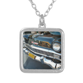 Front of a Classic 1956 Chevy Bel Air Hot Rod Silver Plated Necklace