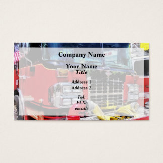 Front of Fire Truck With Hose Business Card