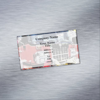 Front of Fire Truck With Hose Magnetic Business Cards