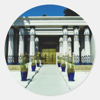 Front of San Jose Egyptian Museum_.jpg Round Sticker