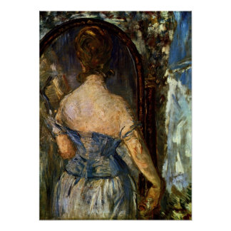 Front of the mirror - Edouard Manet Poster