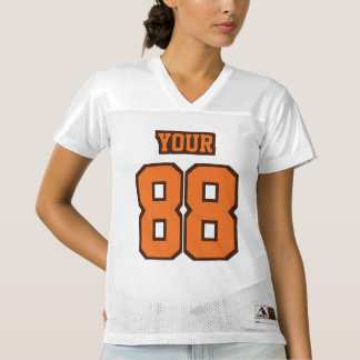 Front ORANGE BROWN WHITE Womens Football Jersey