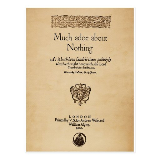 Front Piece to Much Ado About Nothing Quarto Post Card