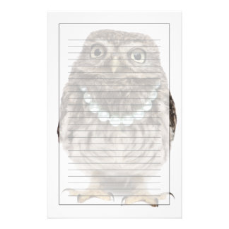Front view of a Young Little Owl Stationery Design