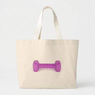 Front view of pink dumbbell large tote bag