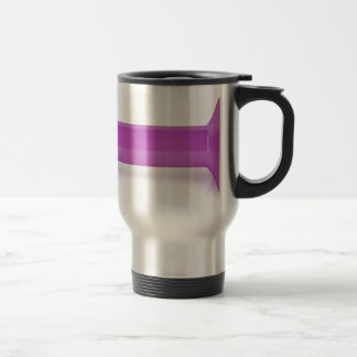 Front view of pink dumbbell travel mug