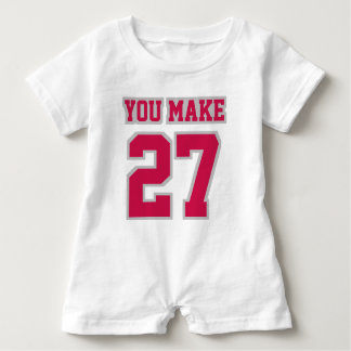 Front WHITE CRIMSON SILVER Romper Football Jersey Baby Bodysuit