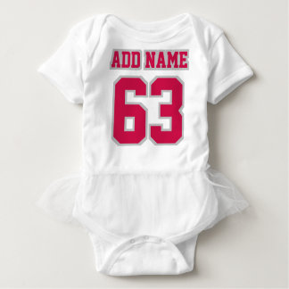Front WHITE CRIMSON SILVER Tutu Football Jersey Baby Bodysuit