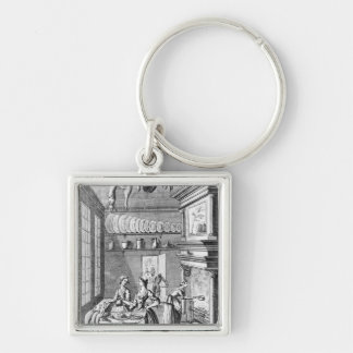 Frontispiece of 'The Compleat Housewife' Silver-Colored Square Key Ring