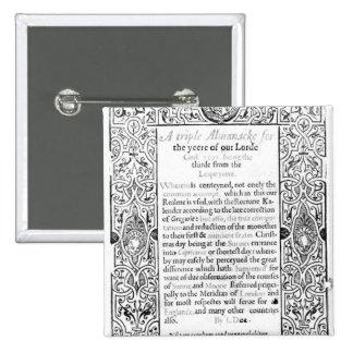 Frontispiece to a Roman Calendar, 1591 Button