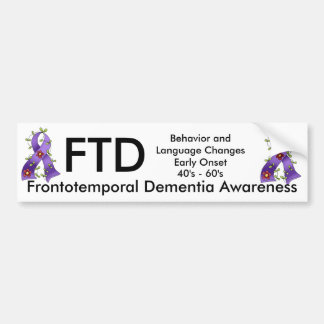 Frontotemporal Dementia Purple Ribbon Bump. Sticke Bumper Sticker