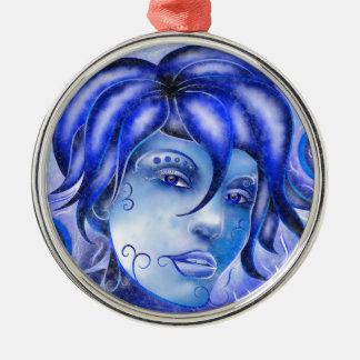 Frosinissia V1 - frozen face Silver-Colored Round Decoration