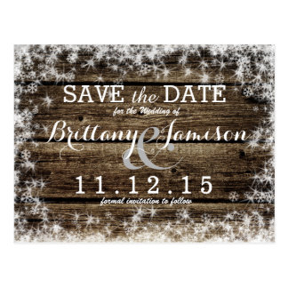 Frost Bite Barn Wood Rustic Winter Save the Date Postcard