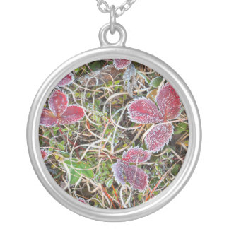 Frost covered leaves, Canada Silver Plated Necklace