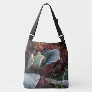Frost Covered Leaves Crossbody Bag