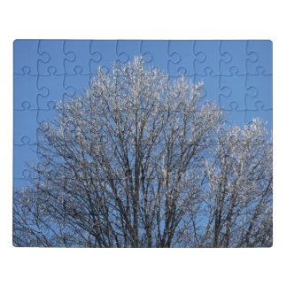 Frost Covered Trees In Morning Jigsaw Puzzle