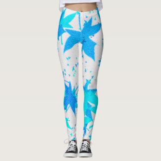 Frost Mixed Blue Leaves Leggings