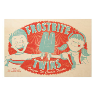 Frostbite Twins Retro Wood Sign Wood Print