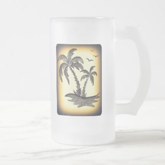 Frosted 16 oz Frosted Glass Mug with Palm Trees
