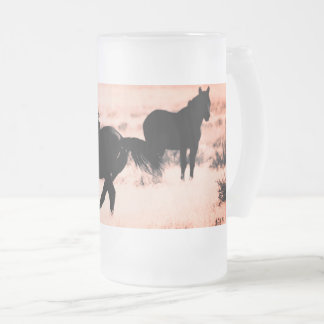 Frosted 16 oz Frosted Glass Mug WITH WILD HORSES