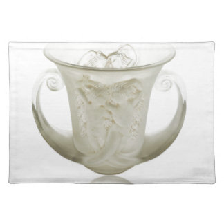 Frosted Art Deco vase with two cherubs. Placemat