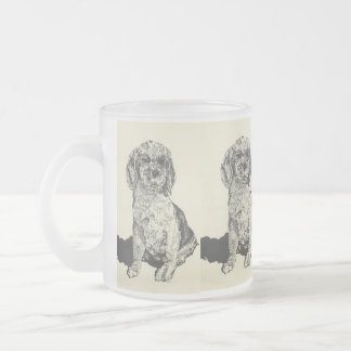 frosted  Beer Mug/ Cocker Spaniel Frosted Glass Coffee Mug