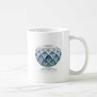 Frosted blue Art Deco vase with etched design. Coffee Mug