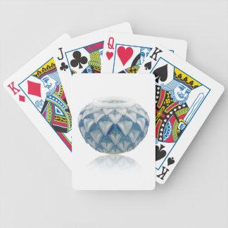 Frosted blue Art Deco vase with etched design. Poker Deck