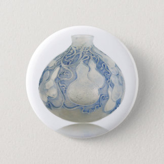 Frosted blue Art Deco vase with fruit. 6 Cm Round Badge