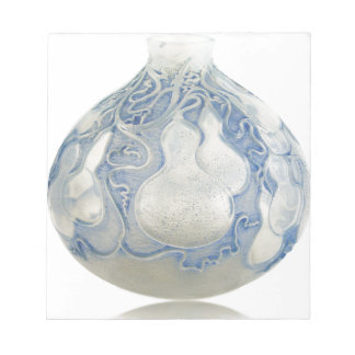 Frosted blue Art Deco vase with fruit. Notepad