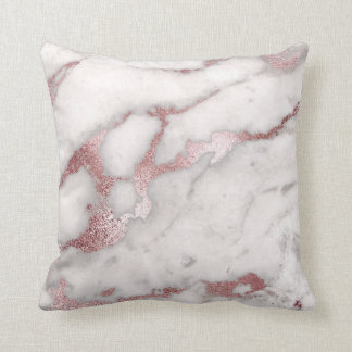 Frosted Blush Pink Rose Gold Marble Pillow