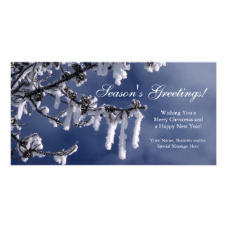 Frosted Branch Custom Flat Christmas Greeting Card Photo Greeting Card