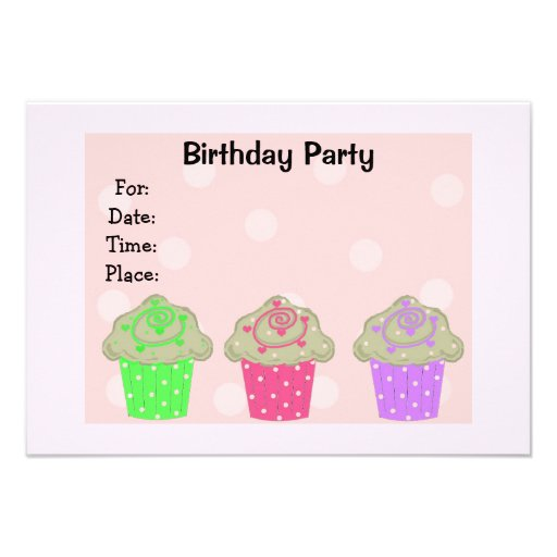 Frosted Cupcake Birthday Party Invitation