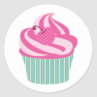 Frosted Cupcake Cherry Mint Green Cute Girly Round Sticker