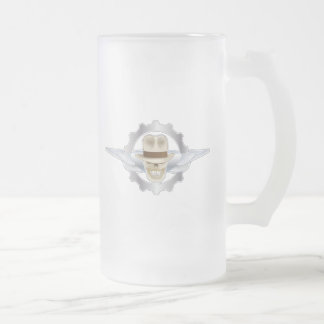 FROSTED Flying Fedora Skull Dieselpunk Frosted Glass Beer Mug