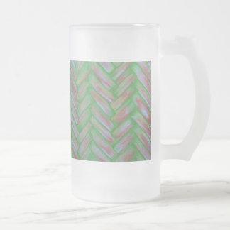 Frosted Glass Basket Weave Mug