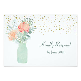 Frosted Glass Mason Jar Wedding RSVP Card