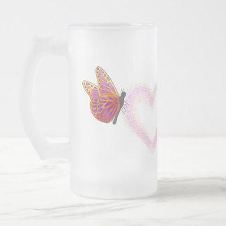 Frosted Glass Mug - Butterflies