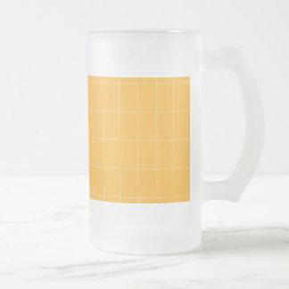 Frosted Glass Mug Elegant Gold Fine Lines Tiles