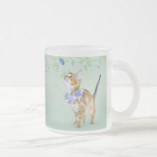 Frosted Glass Mug featuring shelter kittens