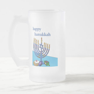 Frosted Glass Mug, Happy Hanukkah Frosted Glass Beer Mug