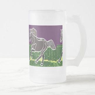 Frosted Glass Mug Horses Wild Animals race