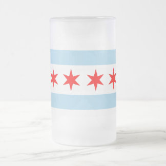 Frosted Glass Mug with flag of Chicago, USA