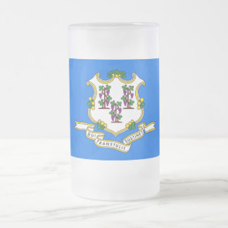 Frosted Glass Mug with flag of Connecticut, USA
