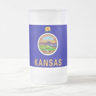 Frosted Glass Mug with flag of Kansas, USA