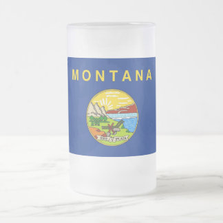 Frosted Glass Mug with flag of Montana