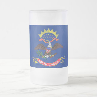Frosted Glass Mug with flag of North Dakota