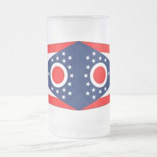 Frosted Glass Mug with flag of Ohio, USA